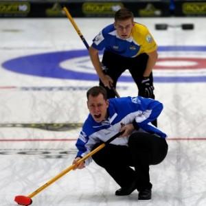 Sweden's Oskar Eriksson and Scotland's David Edwards in action