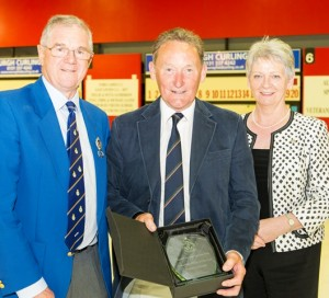 2015 Grassroots Coach of the Year Robbie Stewart with David and Frances Henderson. Photo: RCCC/Tom Brydone